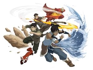 Pictured:  Korra, Naga, Bolin, Mako, Tenzin in THE LEGEND OF KORRA on Nickelodeon.  Photo: Nickelodeon.  ©2012 Viacom, International, Inc.  All Rights Reserved